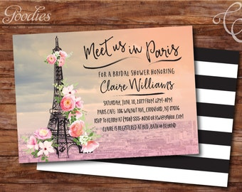Paris Bridal Shower Invitation - Eiffel Tower - Flowers
