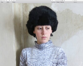 VEGAN fur vintage russian army trapper hat size S