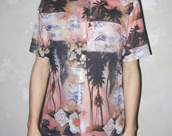 PALM TREES print flower short vtg sleeve shirt OS hawaiian kawaii fun