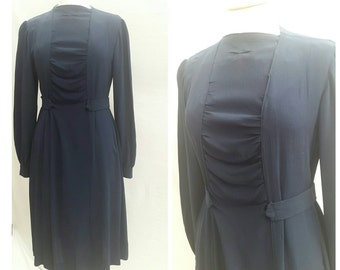 1930s Dress, Navy Blue, Smart  Formal, Day Dress, UK size 12, US size 10.