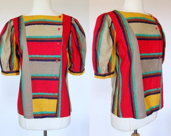 1980s color block blouse, puff sleeve, striped, short sleeve, cotton button up top, Voila, Large