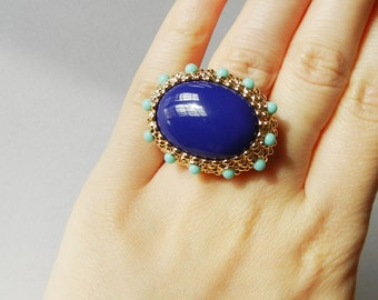 KJL Kenneth Jay Lane Large Cocktail Ring Lapis Lazuli with Turquoise New in Box size 6