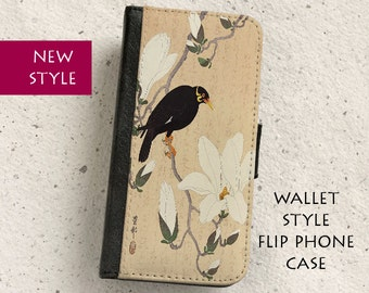 iPhone Case (all models) - Mynah Bird and Magnolia - Vintage Japanese Illustration - Wallet flip case - Samsung Galaxy S4,S5,S6,S7 Edge