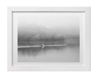 Austin Print, Austin Texas Landscape Photography, Lady Bird Lake, Black and White Art Print, Large Wall Art, Minimalist Art, Austin Gift