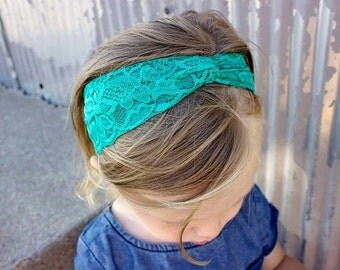 Vintage Lace Turban Headbands for babies and little girls! Adorable knotted lace headband for girls! CHOOSE YOUR COLOR!!