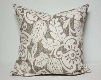 Beige and brown flower burlap pillow cover, beige floral pattern pillow cover, beige pillow