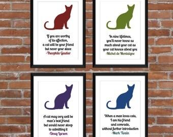 Set of 4 Cat Quotes/A3/A4/A5/11 x 14/8 x 10/5 x 7 Art Prints/Gift for Cat Lovers