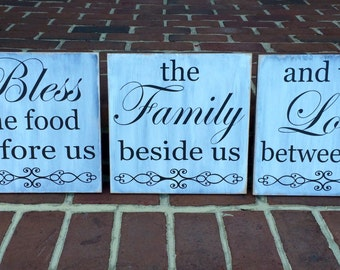 Bless The Food Before Us Family Beside Us And Love Between Us 3 pc set Wooden Sign,  Dining Room,  Kitchen Sign, Country charm, Primitive