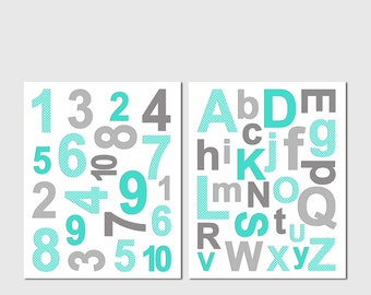 Aqua and grey Alphabet and numbers Nursery Art Print Set, Kids Room Decor, Baby Wall Art - aqua and grey - UNFRAMED