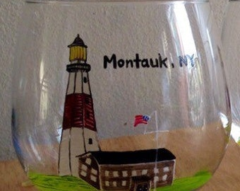Hand painted stemless wine glasses, Montauk Lighthouse, set if 4.