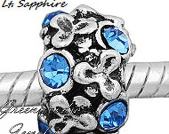 European Charm Bead For All Large Hole Charm Bracelet And Necklace Chain. Crystal-Blue-Flowers-8x12mm