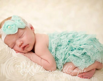 Blue flower headband, blue chiffon headband, infant headband, newborn headband,take home headband, flower headband