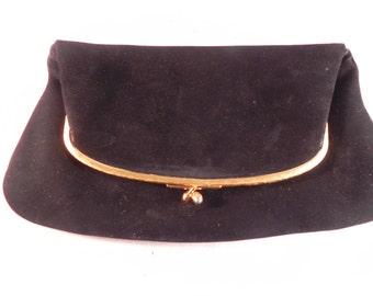 Vintage Clutch Purse Foldover Black Suede Coblentz Original