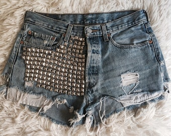 Levis Studded Front Womens Destroyed Shorts