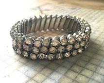 Vintage Rhinestone Expansion Bracelet  - Clear Crystal Glam Bling