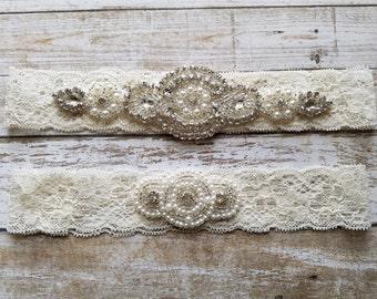 SALE - Wedding Garter, Bridal Garter, Garter Set - Crystal Rhinestone & Pearls on an Ivory Lace - Style G800123
