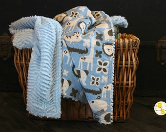 SALE - Baby Blanket - Animal Blanket - Soft Blanket - Swaddle Blanket - Cozy Blanket - Fluffy Blanket - Stroller Blanket - Boy Blanket