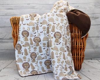 Animal Blanket, Baby Blanket, Handmade, Blanket, Neutral Blanket, Fleece Blanket, Brown Blanket, Baby Gift Ideas, Stroller Blanket, Fleece