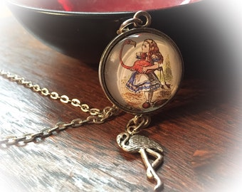Alice in Wonderland, Vintage Alice in Wonderland necklace, Alice, Flamingo, Alice in Wonderland jewelry, Disney inspired, Disney