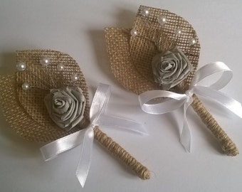 2 Burlap Groom's Boutonniere with Purple Flower, Rustic Wedding, White  Bow,