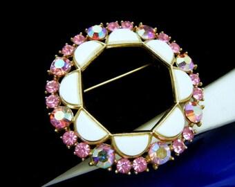 Crown Trifari Vintage Brooch White Lucite Pink AB Rhinestones 1960s Fabulous