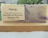 Lavender and Rosemary Shampoo Bar - Handcrafted - Organic - Vegan with Jojoba and Argan Oil -Great Lather -All Natural Paraben Free