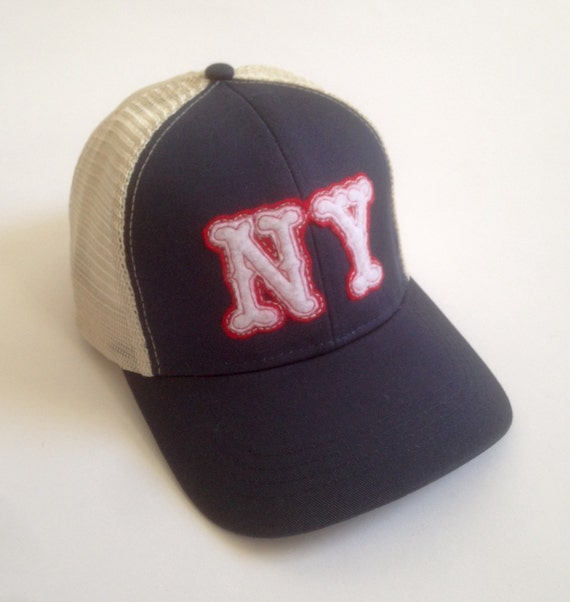 ny new york vintage style trucker baseball hat with wool felt
