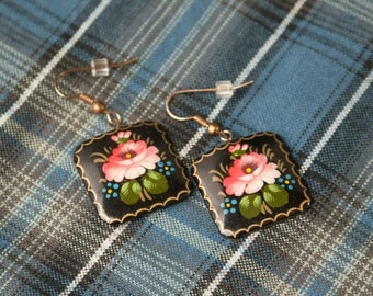 Hand Painted Signed Russian lacquer Earrings