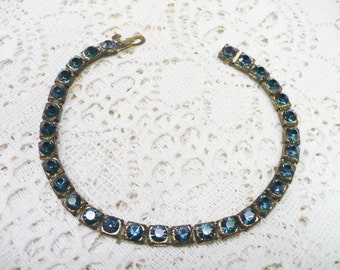Authentic Vintage 1920s Art Deco Blue RHINESTONE Bracelet -  pot metal setting - GATSBY Bridal - Bridesmaid - FLAPPER Style - 1920s gift