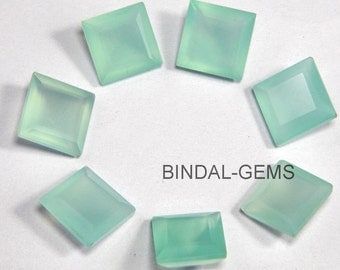 15 Pieces Lot Aqua Chalcedony Square Shape Faceted Cut Loose Gemstone