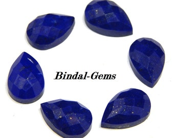 25 Pieces Wholesale Lot Natural Lapis Lazuli Pear Checker Cut Gemstone For Jewelry