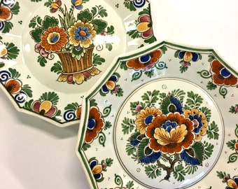 Lovely Vintage Handpainted Polychrome Plates Holland Floral Pattern Scalloped Edges