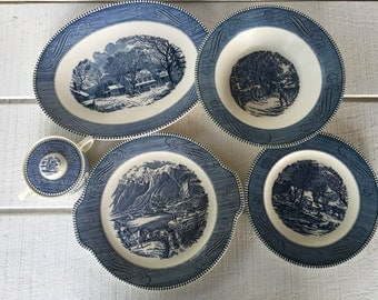 Vintage Blue and white Currier and Ives dishes, mid century blue and white transfer ware, platter bowl sugar bowl cake plate Royal china