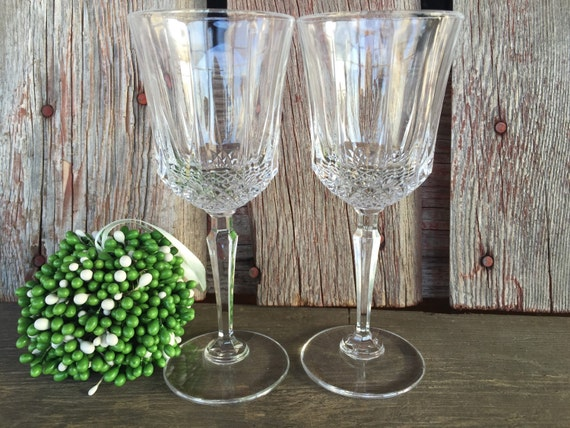Vintage Crystal Water Goblet With A Ring In The Stem