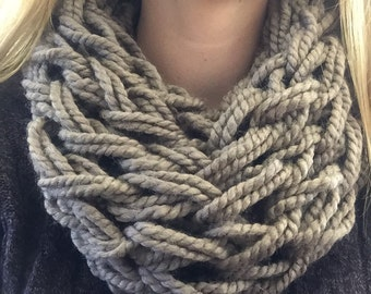 Arm-knit Infinity Scarf in Taupe