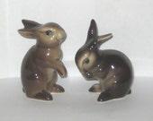 Goebel W Germany CE299 CE298 Bunny Rabbit Animal Figurine Dark Brown Pair Two 2 Sisters Twins