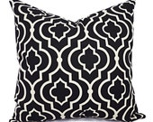 Two Decorative Pillow Covers - Black Beige Pillows - Throw Pillow - Cushion Cover - Accent Pillow - 16 inch Pillow Cover - Black Euro Sham