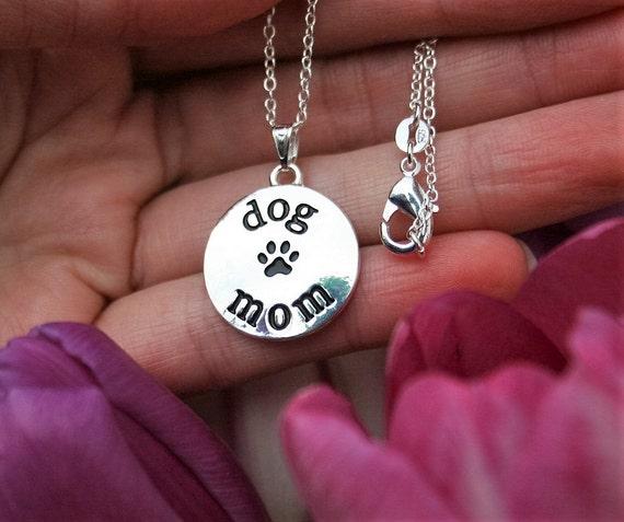 Dog Mom Charm Sterling Silver Plt Pendant Paw Print ...