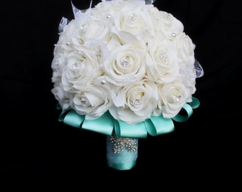 Wedding Bouquet, rose bouquet, ivory rose bouquet, real touch rose Bouquet, Floral Bouquet, Real Touch Wedding Bouquet, Bridal Bouquet,