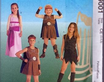 Childrens Halloween Pattern, McCalls 9001, Roman or Greek Soldier, Gladiator, Roman princess, Girl warrior Kids Sizes 3,4,5, Uncut