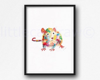 Rat Print Watercolor Painting Art Print Colorful Animal Art Rat Lover Gift Art Print Bedroom Wall Decor