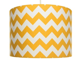 Yellow and White Chevron Fabric, Riley Blake, Cotton Drum Lampshade, Small Lampshade 20cm - Large Lampshade 30cm or Custom Order