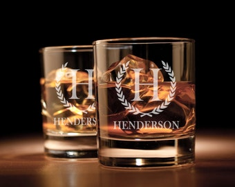 Personalized Engraved Whiskey Glass, Rocks Glass, Scotch Glass, Low Ball Glass