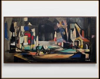 Large Original Oil Painting Carlo Original - Bright Mid Century Modern 60s NICE