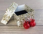 Lampwork Earrings, Red Earrings, Hand Crafted Earrings, Glass Bead Earrings, Dangle Earrings, Pomegranate Earrings, Birthday Gift