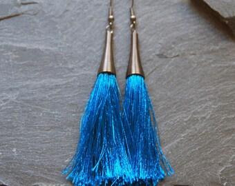 Blue tassel earrings, Long earrings, Statement earrings, Bohemian earrings, Gift for her, Fringe earrings, Gunmetal earrings, 1127-5