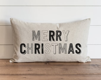 Merry Christmas 16 x 26 Pillow Cover // Christmas  // Holiday  // Throw Pillow // Gift for Her // Accent Pillow