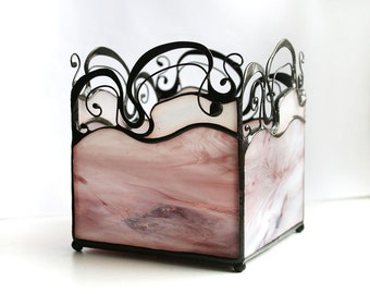 Art Nouveau Candle Holder, Soft Purple Stained Glass, Secession Style, Home Light, Tiffany Glass