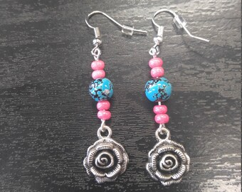 Teal and pink rose earrings