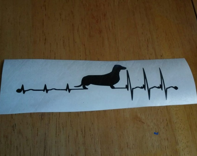 Dachshund Heartbeat EKG Vinyl Decal